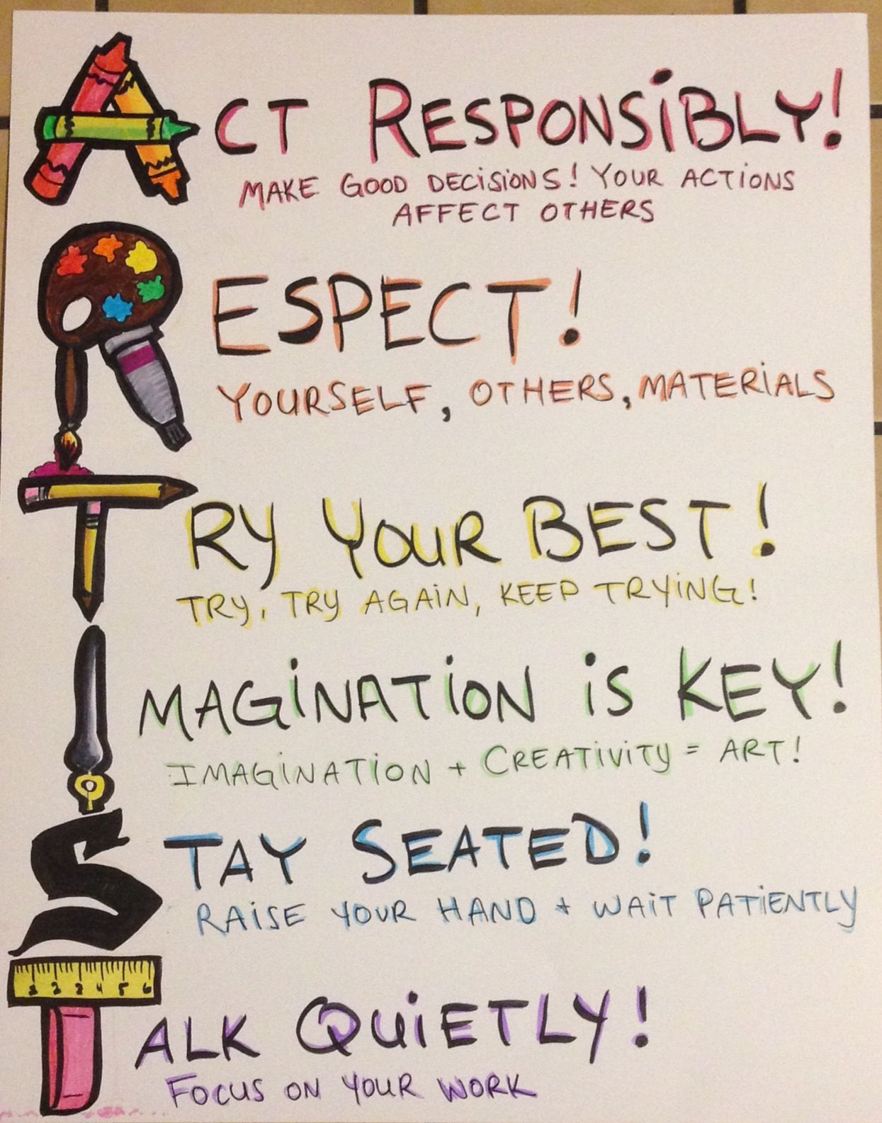Art Room Rules Poster Artroom Rules Classroommanagement