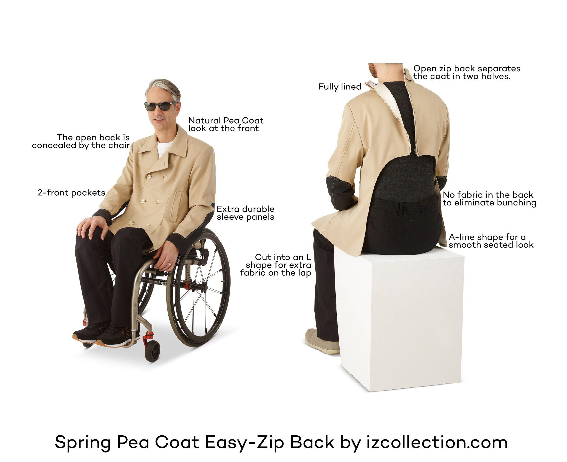 IZ Collection - Spring Pea Coat in an Easy-Zip back. Unzip the ...