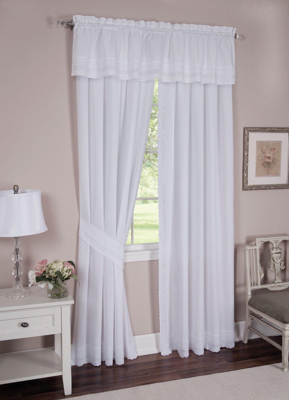 Danielle Eyelet White Curtain Panel Pair Curtain Bath Outlet