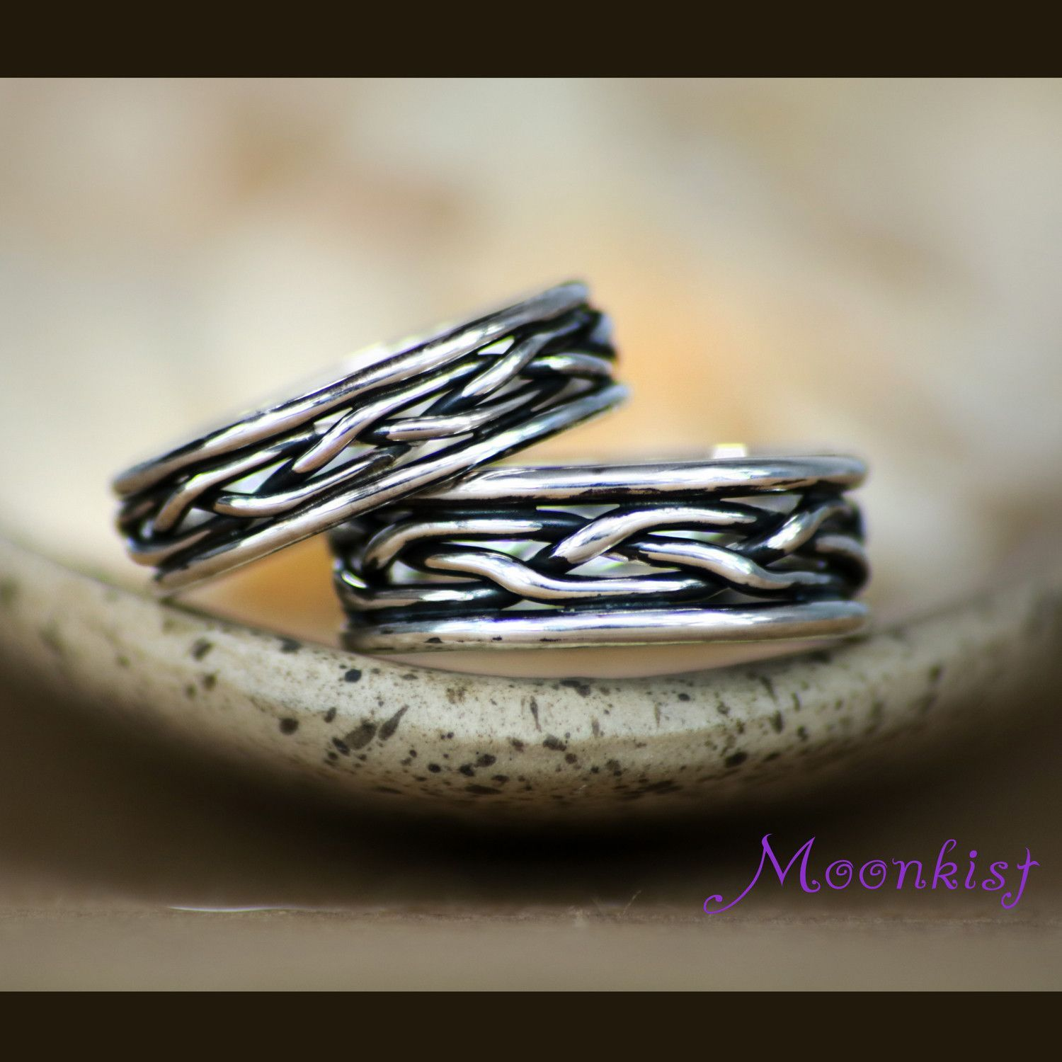 Wide Silver Celtic Braided Wedding Unisex Commitment Band