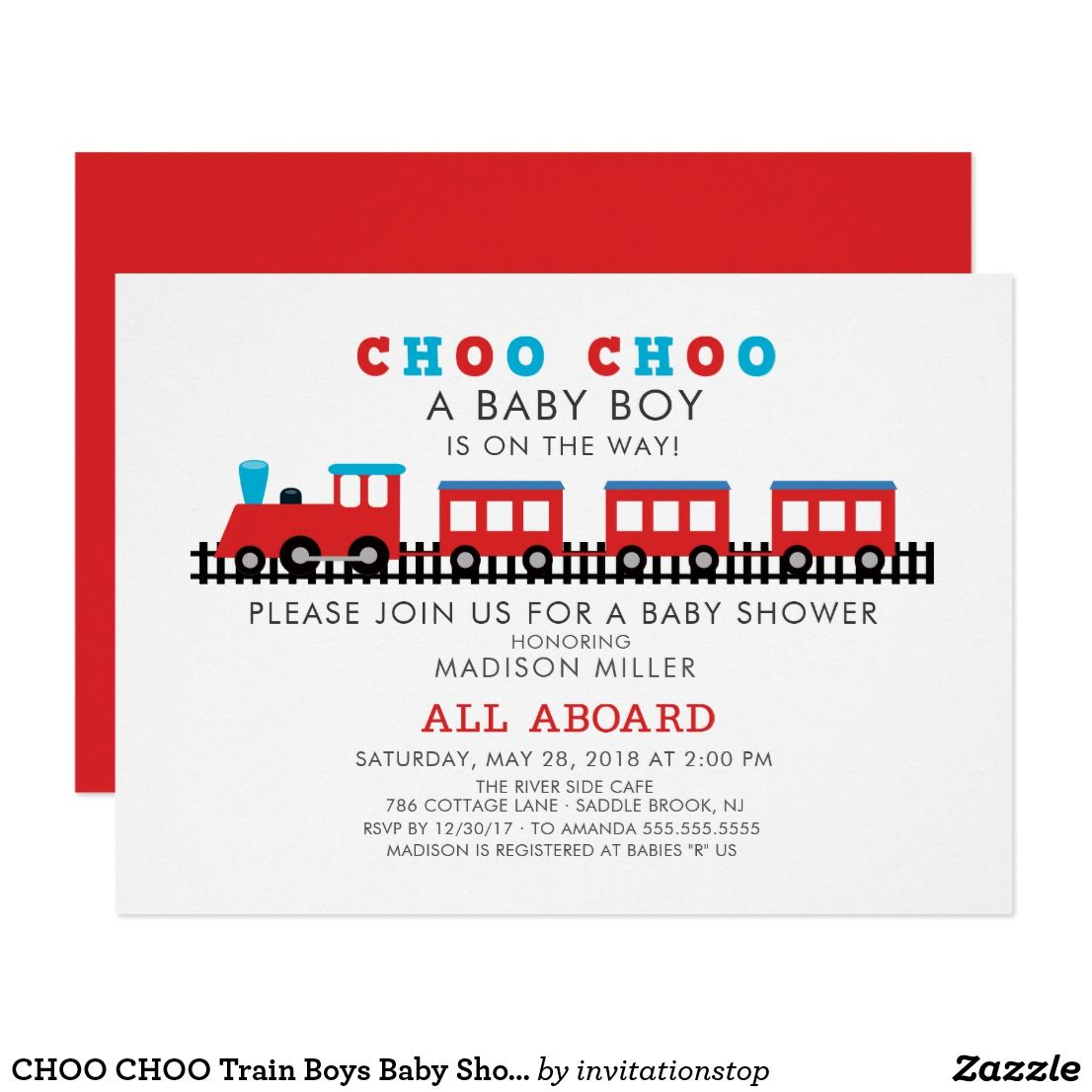 CHOO CHOO Train Boys Baby Shower Invitation All aboard for a baby ...