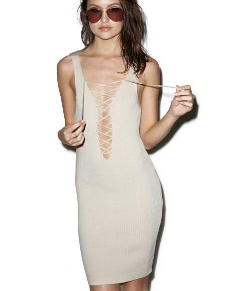 #DollsKill #lookbook #photoshoot #model Café Au #laceup #dress #tan #bodycon #tank #cute