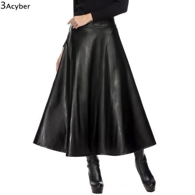 Women Skirt Folds PU Leather Skirt England Style Vintage Pleated Skirt Long  Casual Winter Plus Size XXL deri etek saias longa 1eaea6ea9c61