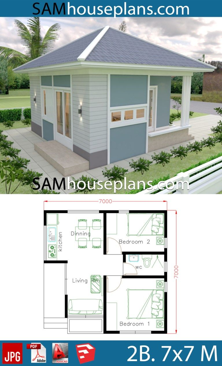 Small House Design Plans 7 7 With 2 Bedrooms In 2020 Kleine