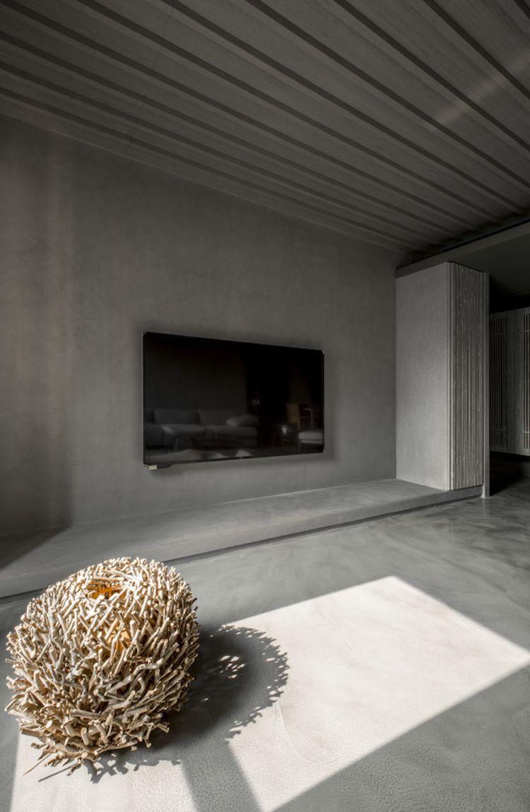 farbe-grau-visuelle-effekte-wohnzimmer-fernseher-flachbildschirm ...