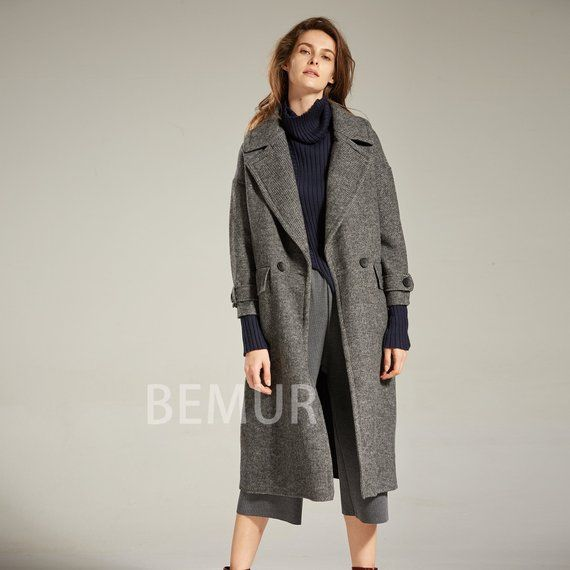 393247a4ea88 Charcoal Gray Winter Jacket Women Long Vintage Wool Pea Coat Lapel Drop  Shoulder Trench Coat Long Sl