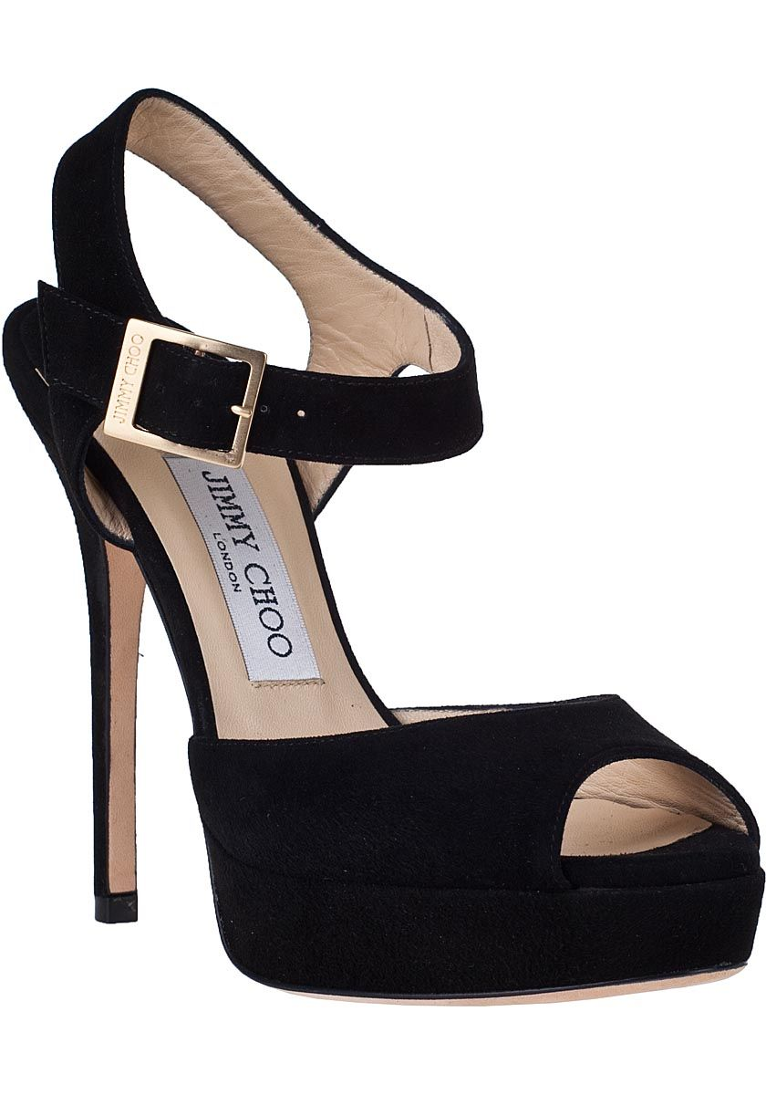 Jimmy Choo Linda Suede Women Platform Sandals black