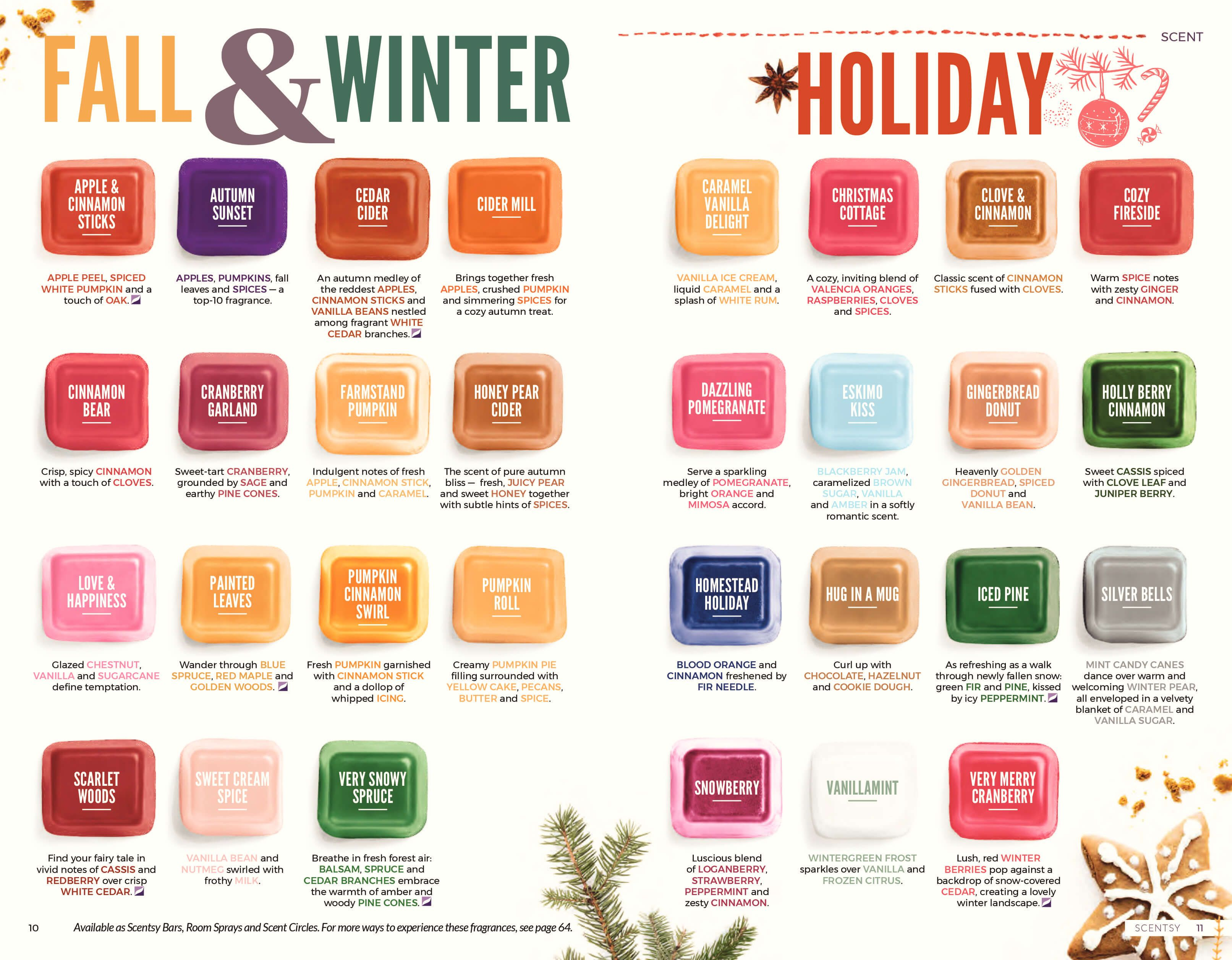 SCENTSY COMPLETE SCENT LIST FOR FALL WINTER 2018 2019