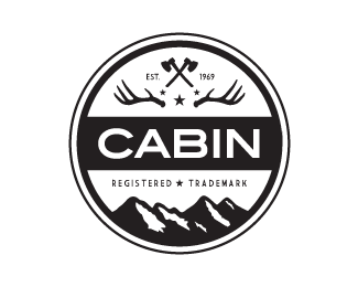 CABIN By Wiking   Black And White Badge Logo Design   Logopond.com