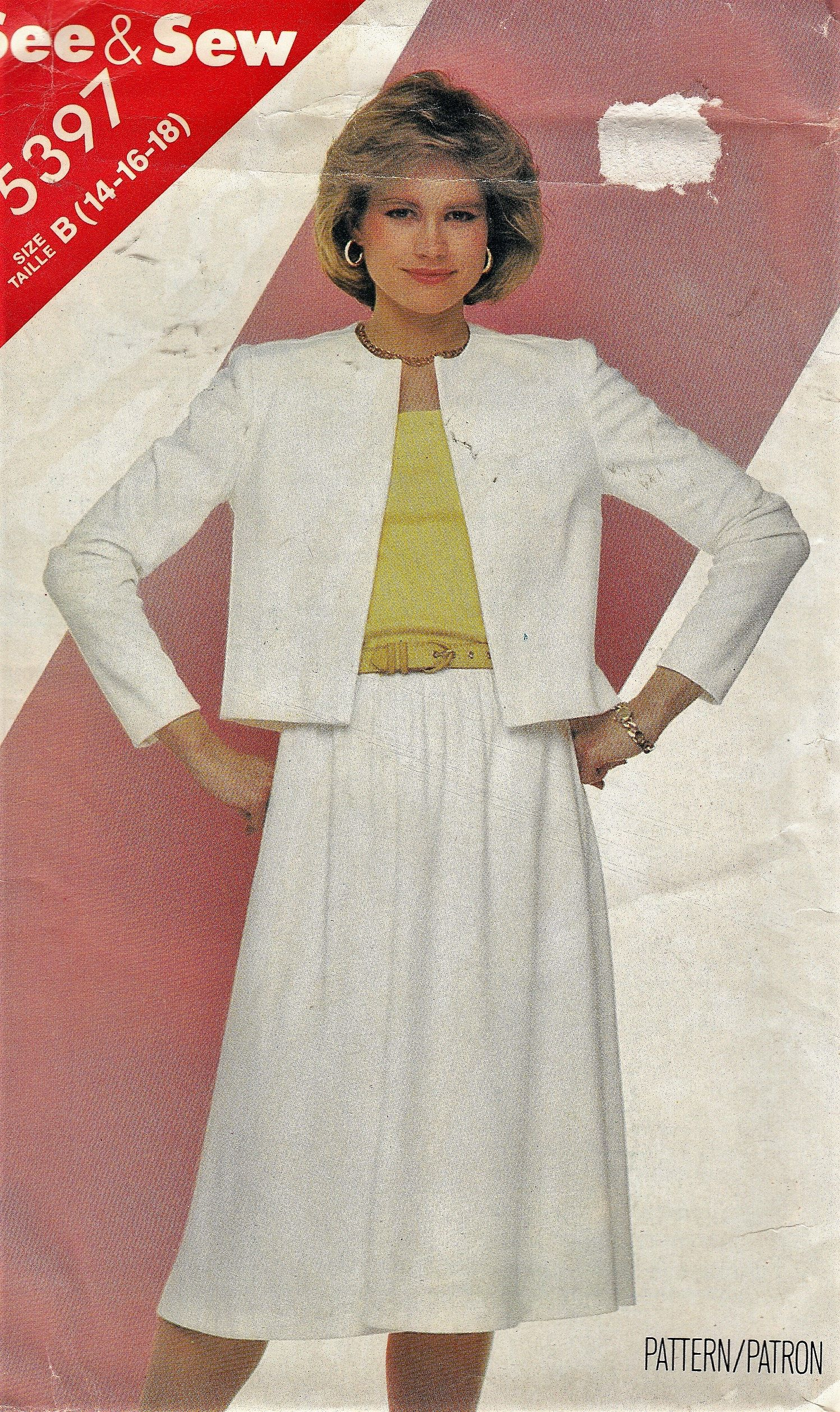 Womens Sewing Pattern See & Sew 5397 Short Jacket Top and Skirt S ...