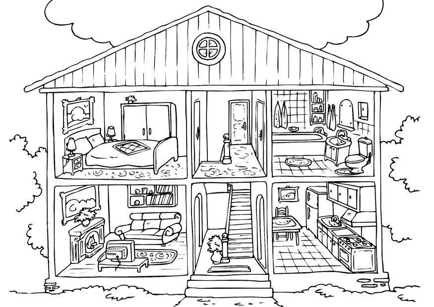 Free Printable House Coloring Pages For Kids | stavby,budovy | House ...