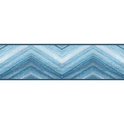"York Wallcoverings Border Portfolio II Mountain Pass 15' x 6"" Chevron & Herringbone Border Wallpaper Color: Blue"