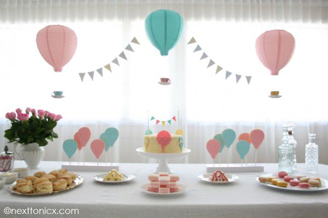 A Hot Air Balloon Themed Baby Shower Next To Nicx For When I Get