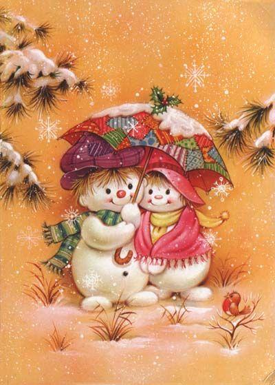 Snowman greeting card illustration - artist unknown