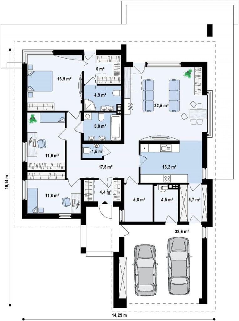 Plano de linda casa moderna con techo de tejas y 3 for Planos casas unifamiliares