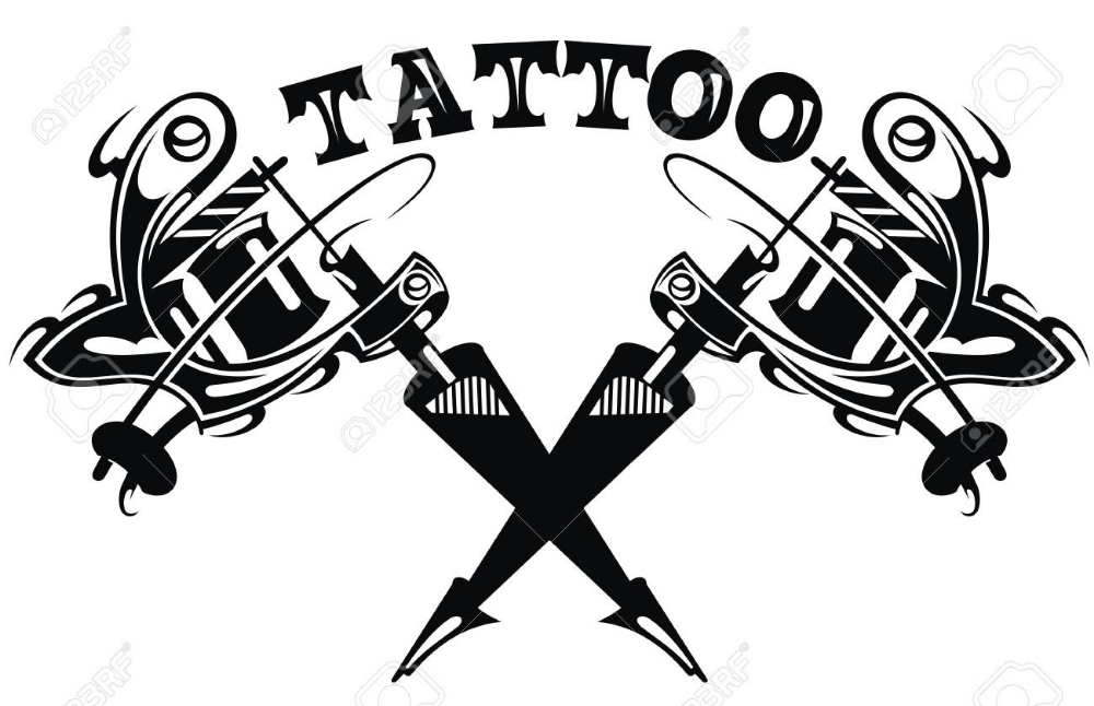 Illustration Of Hand Drawn Tattoo Machines In Black And White Colors Stock Vector 95653266 How To Draw Hands Tattoo Machine Illustration