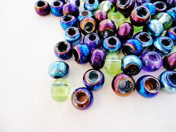 Transparent rondel beads with black core and bubble design