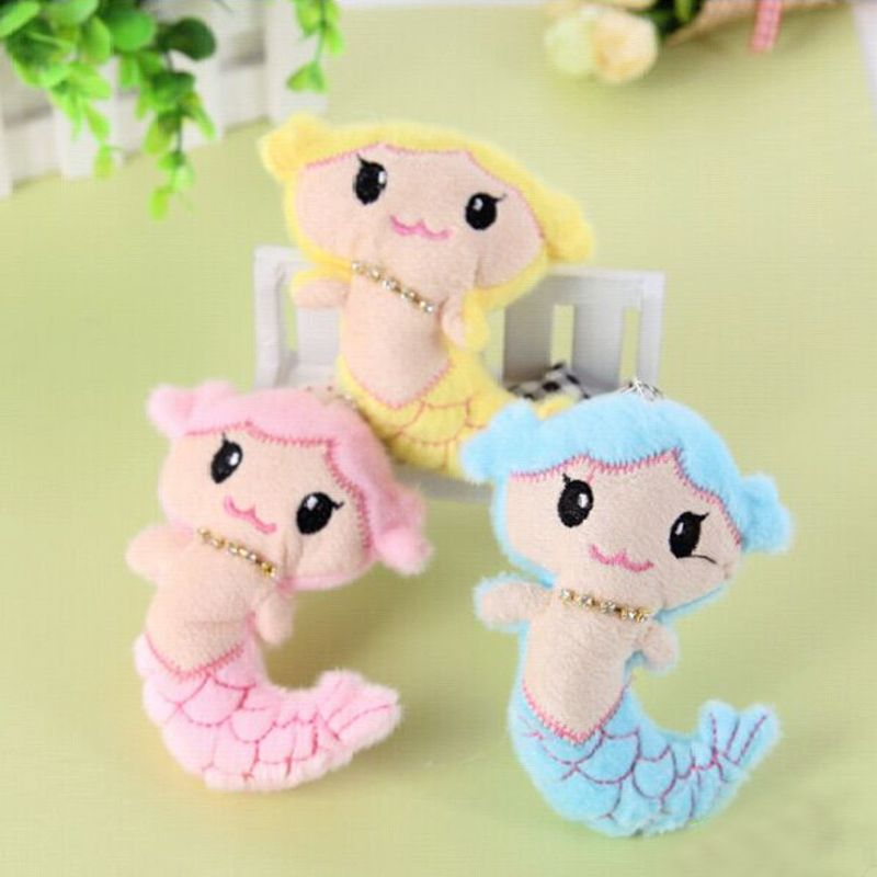 Free Shipping1PCS  Mini Lovely Mermaid Soft Plush Doll Toy  Small Pendant Child Girls Christmas Birthday Happy Colorful Gifts