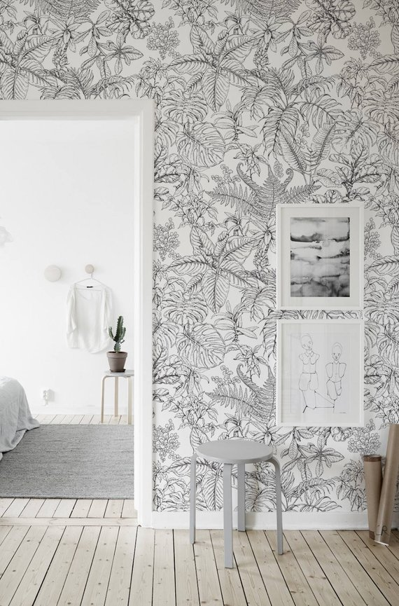 Hand Drawn Tropical Forest Removable Wallpaper Traditional