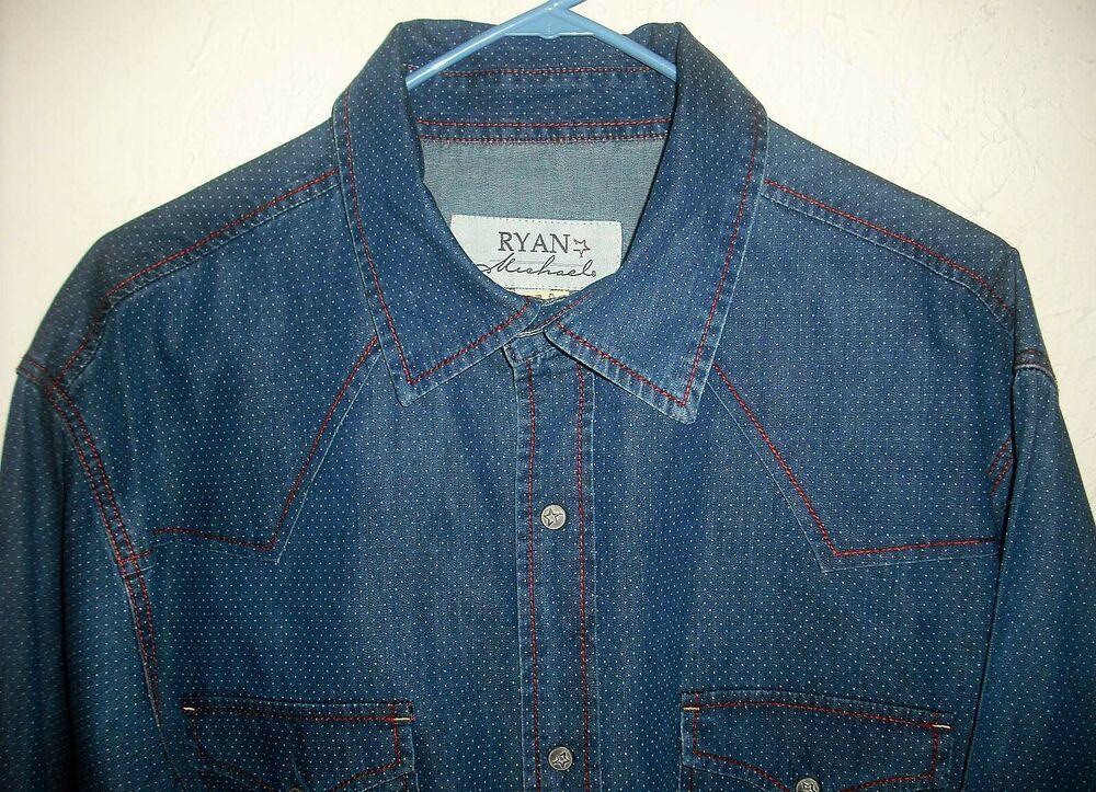 6f130e0e RYAN MICHAEL BLUE WITH SMALL WHITE DOTS XL 100% COTTON WESTERN SHIRT PEARL  SNAPS #