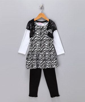 A set like this makes pulling together a darling look easy breezy. It's sure to garner glances and catch compliments thanks to the fun zebra print and girly embellishments.