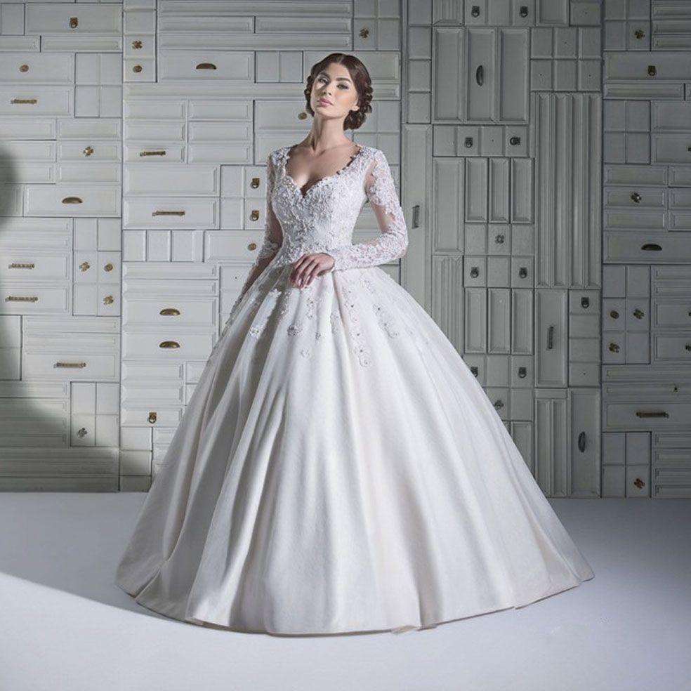 Catholic wedding dresses  Elegant White Ball Gown Sweetheart Applique Sheer Long Sleeves Floor