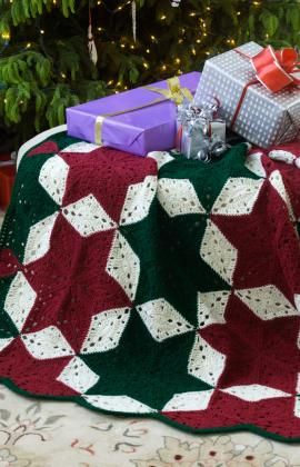 Christmas Star Throw Free Crochet Pattern from Red Heart