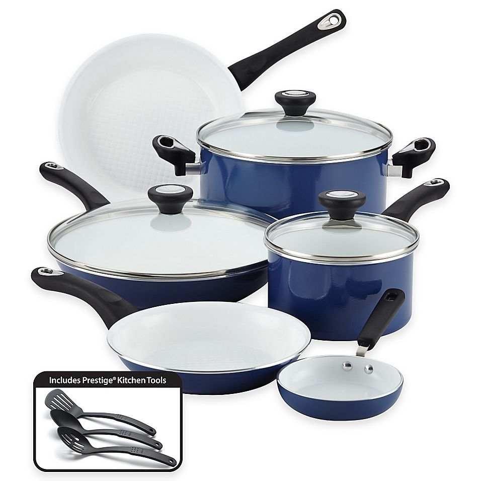 Farberware Purecook Ceramic Nonstick 12 Piece Cookware Set In Blue
