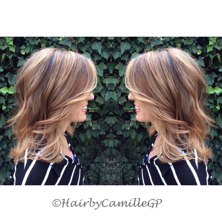 24 Wunderschone Mittellange Frisuren Mit Balayage Und Ombre Highlights Neue Frisur Einfache Frisuren Mittellang Haarfarbe Brunett Frisuren