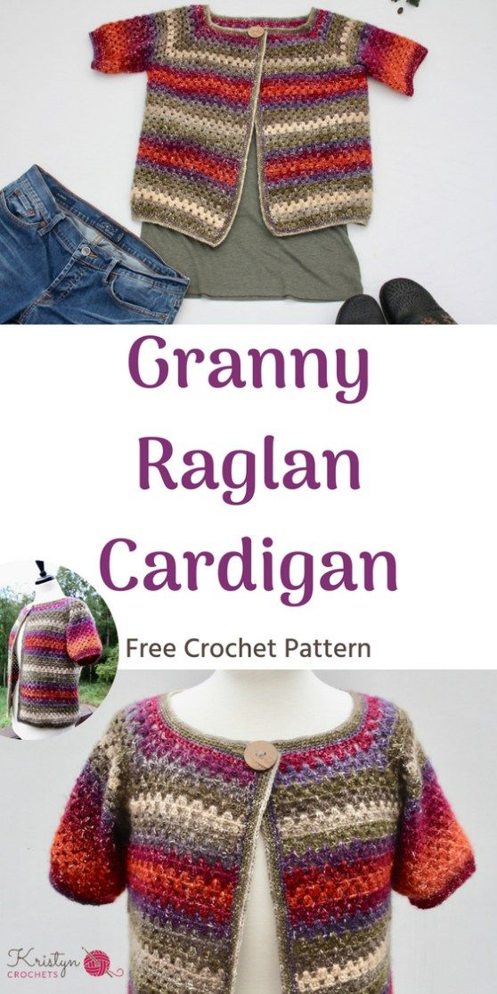 Granny Raglan Crochet Cardigan | Crochet how to\'s | Pinterest ...