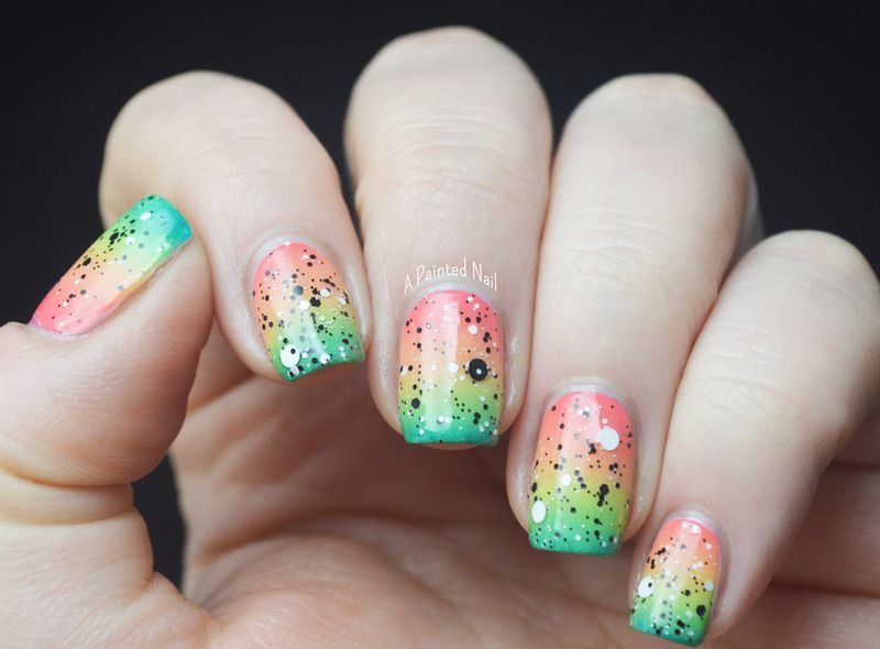 Tropical Gradient With Black White Glitter Nail Art By Bridget