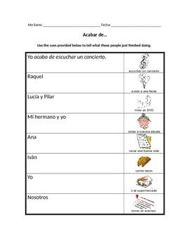 Worksheets Ir A Infinitive Worksheet spanish ir a infinitive worksheet expressions with infinitives acabar de expresions infinitives