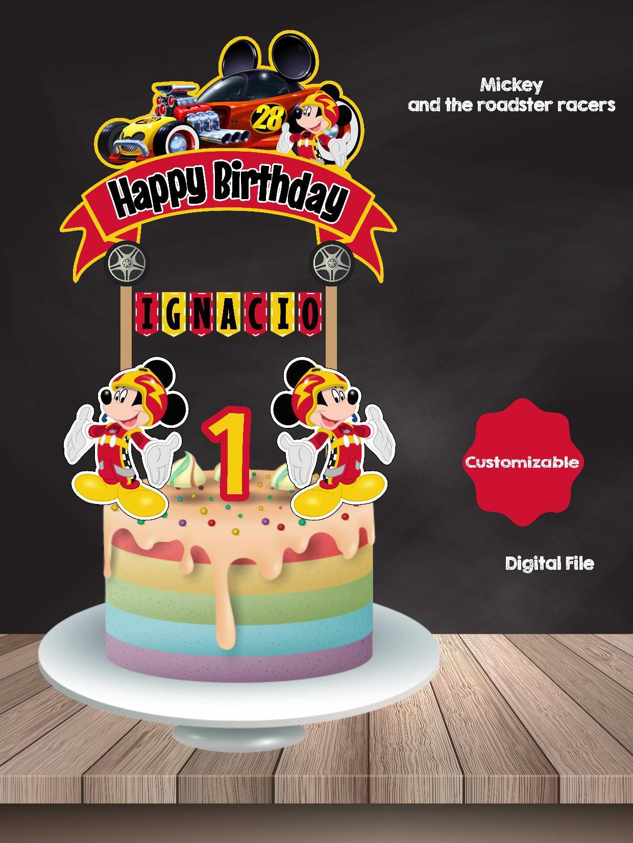 Magnificent Mickey And The Roadster Racers Cake Topper Mickey Mouse Birthday Birthday Cards Printable Trancafe Filternl