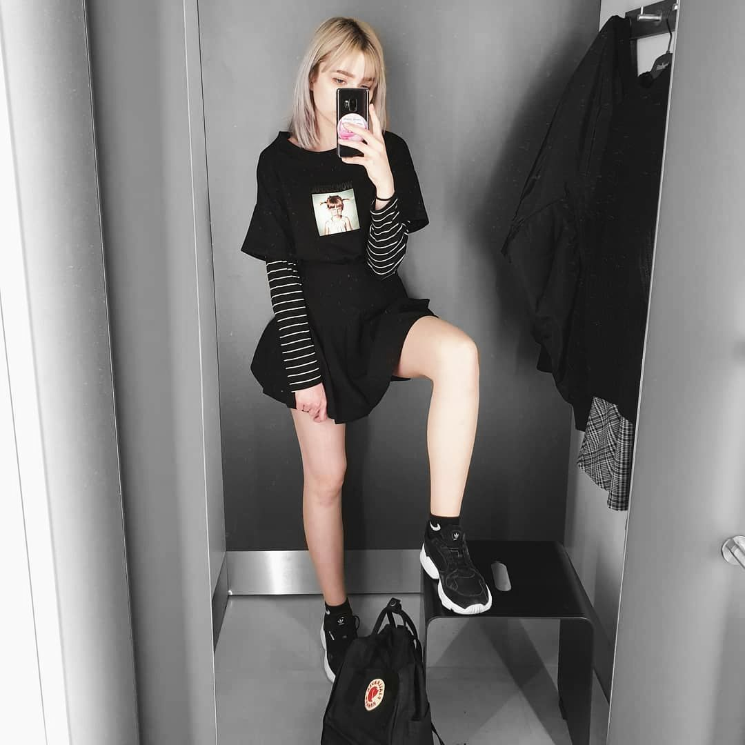 All Black Outfit Tennis Skirt Outfit Fashion Grunge Skirt