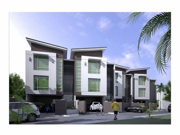 Townhome home pinterest modern townhouse quezon for Modern townhouse architecture