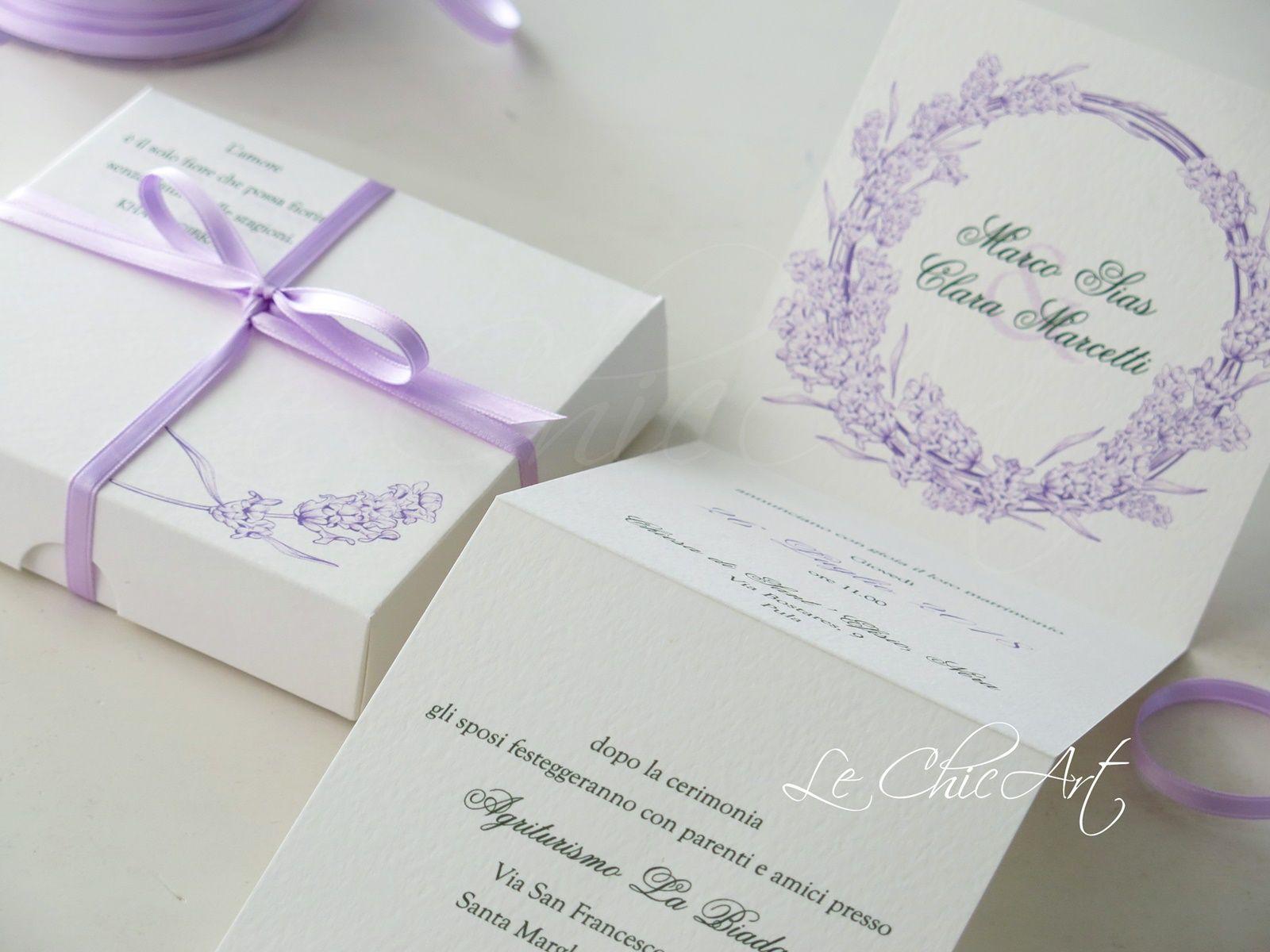 Partecipazioni Matrimonio Lavanda.Partecipazione Lilla Tema Lavanda Matrimonio Matrimonio Lilla