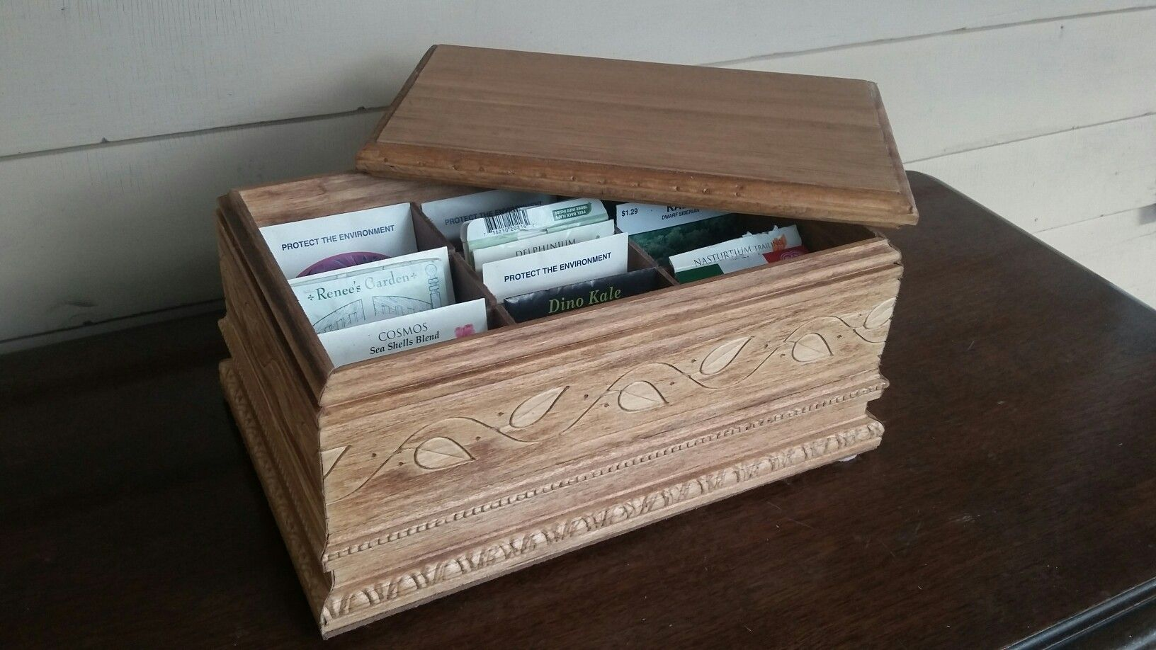 Deluxe Seed Box -  featuring 9 compartments to hold multiple, full size, seed packets. Made by Back to Basics Woodcrafting.