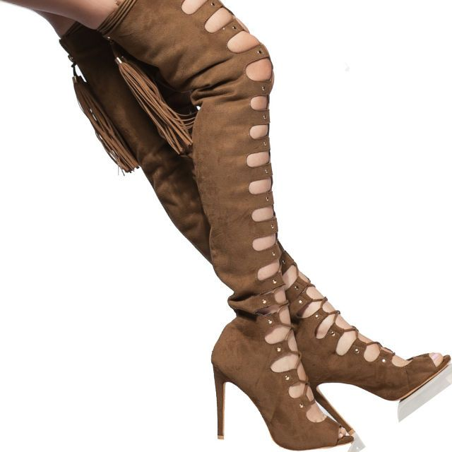Lace up Thigh High Boot Heels