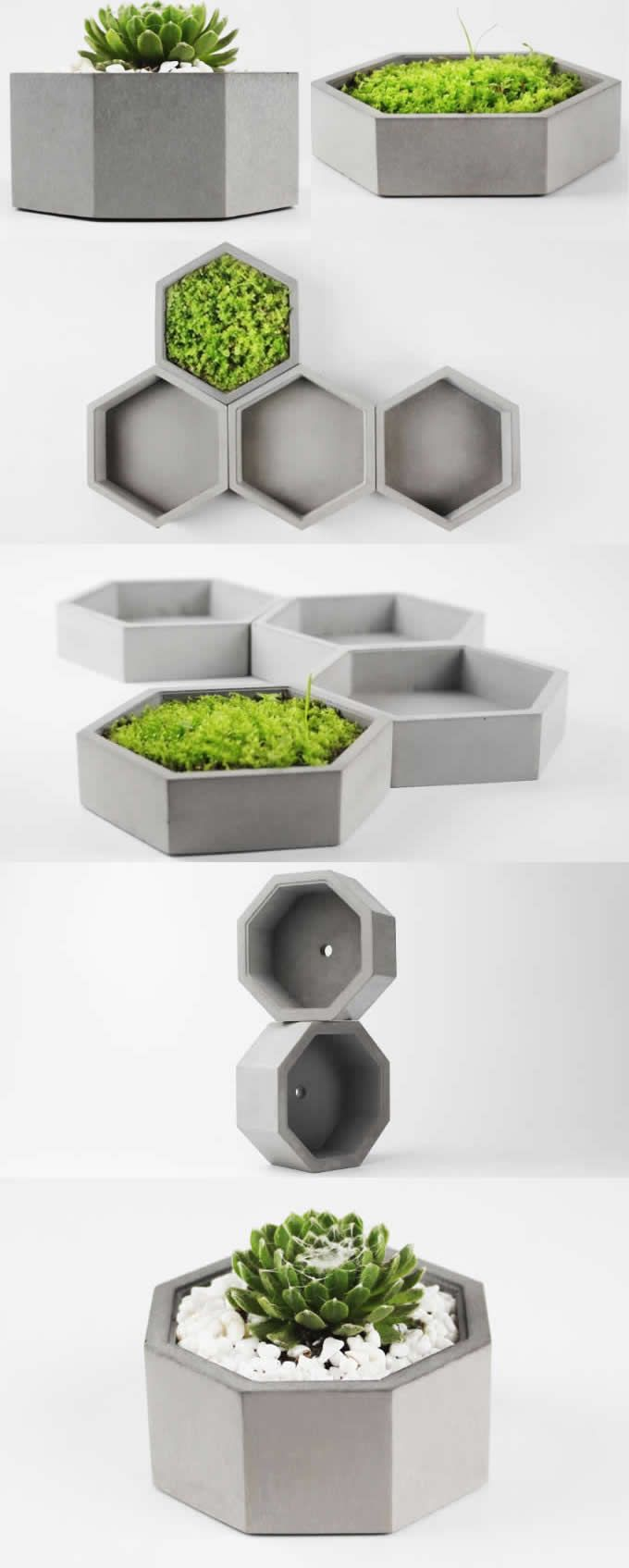 office flower pots. Gray Concrete Geometric Succulent Planter Flower Pot Office Desk Stationery Organizer Tray Pots