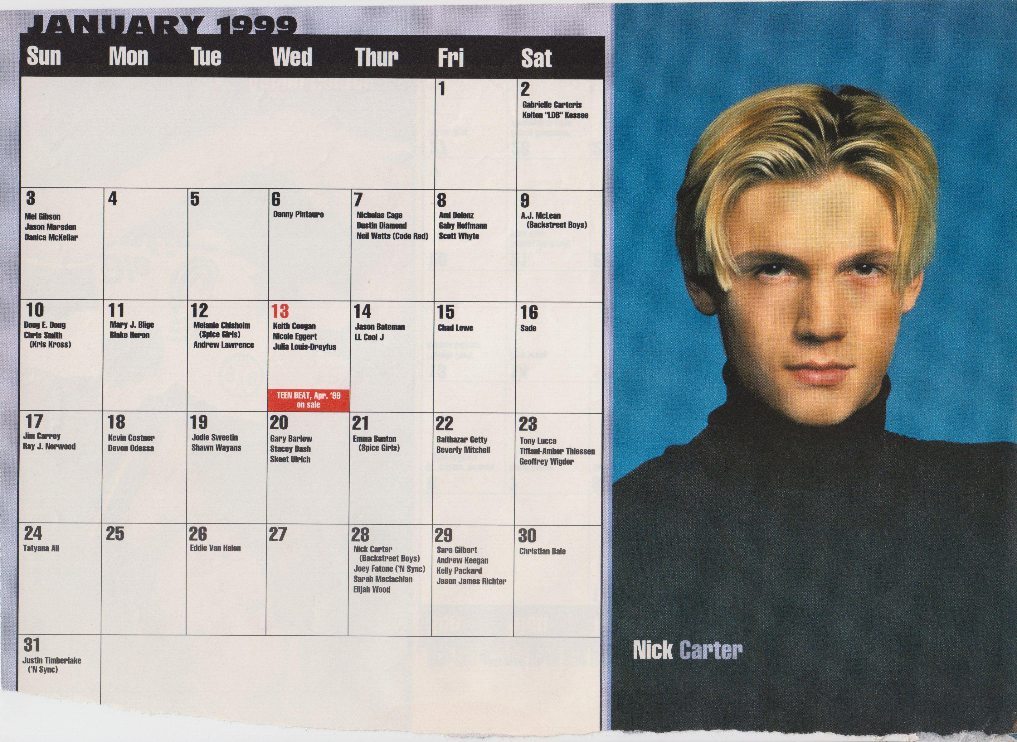 1999 Celebrity Birthday Calendar January Nick Carter