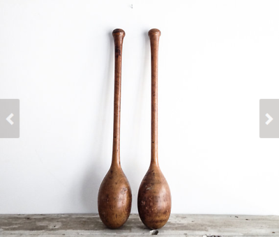 Vintage Teardrop Wooden Indian Club Exercise Juggling No 2
