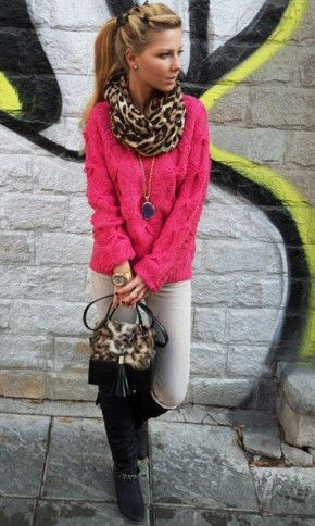 Cute Outfit Hot Pink Sweater With Leopard Scarf And White Pants