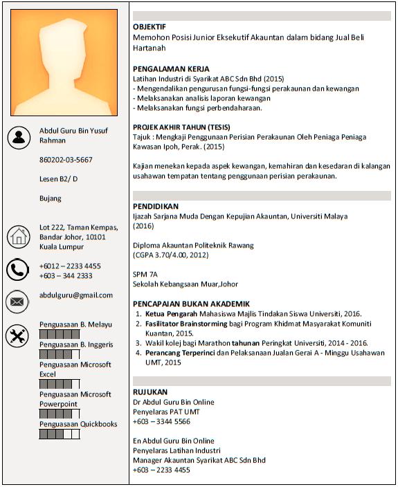Panduan Membuat Resume Contoh Resume Boleh Diedit Malaysia