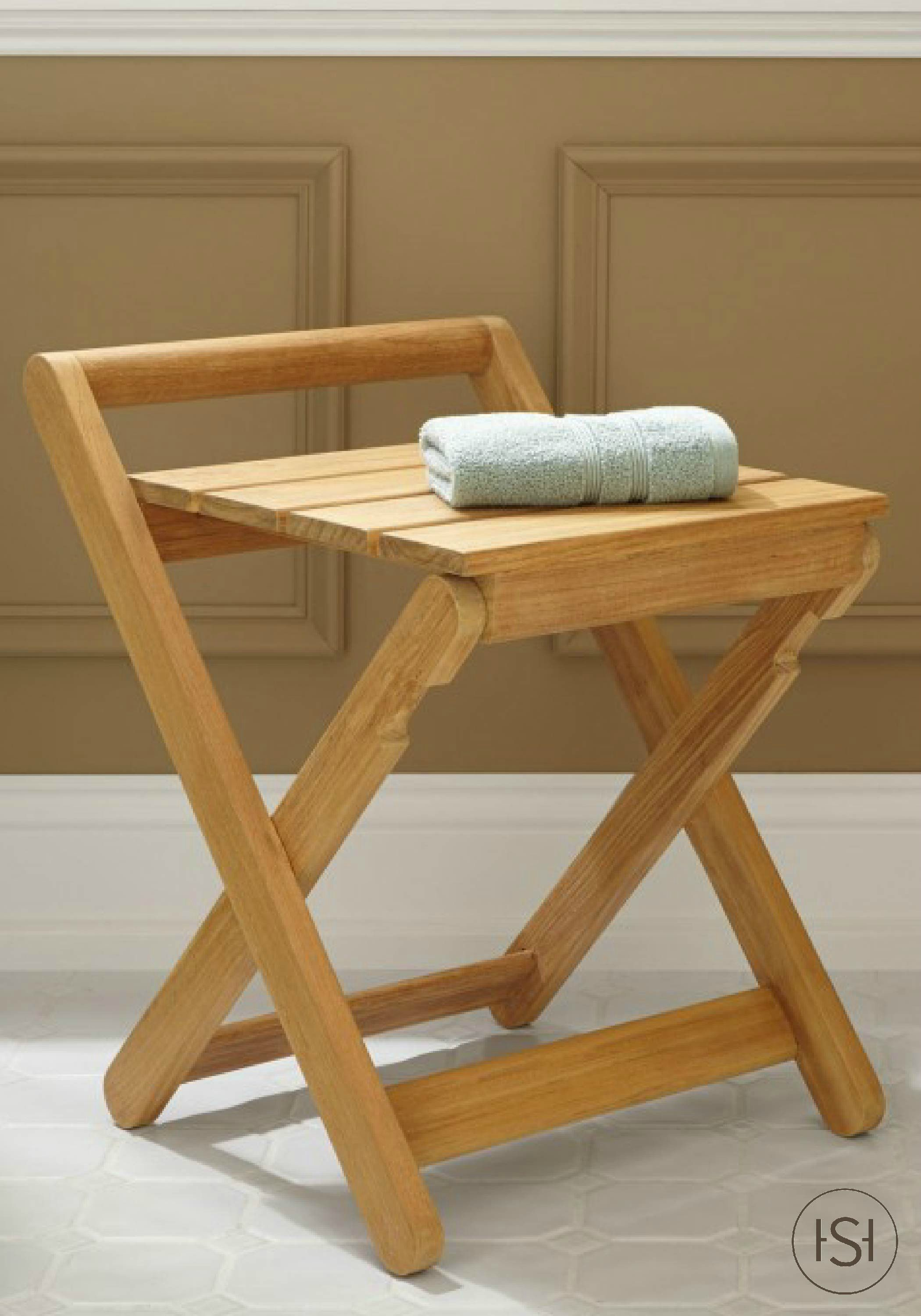 Dhara Teak Folding Shower Stool | Pinterest | Teak shower stool ...