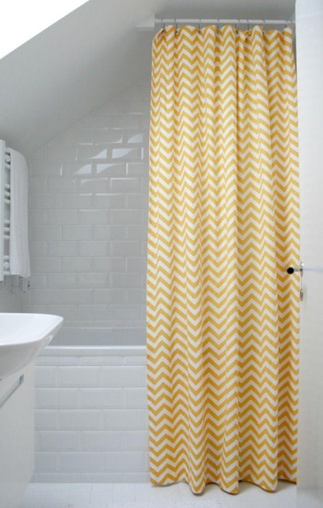 Chevron Yellow Shower Curtain Rilane