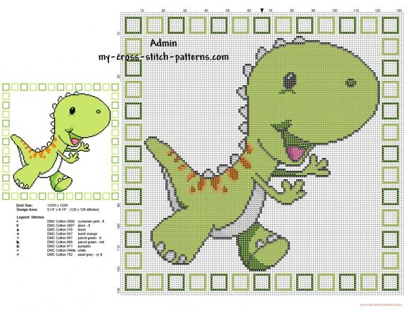 Children Pillow With Green Cartoon Dinosaur Cross Stitch
