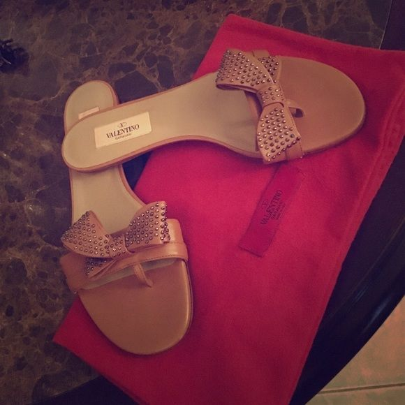 Valentino studded leather sandals (PRICE NEG) Brown leather sandals. Brand new/ never worn. Valentino Shoes Sandals
