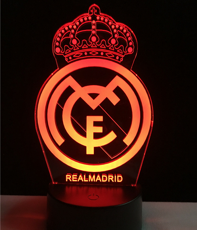 Real Madrid Logo Logo Touch 3d Colorful Nightlight Lamp Real Madrid Logo Real Madrid Wallpapers Madrid Wallpaper