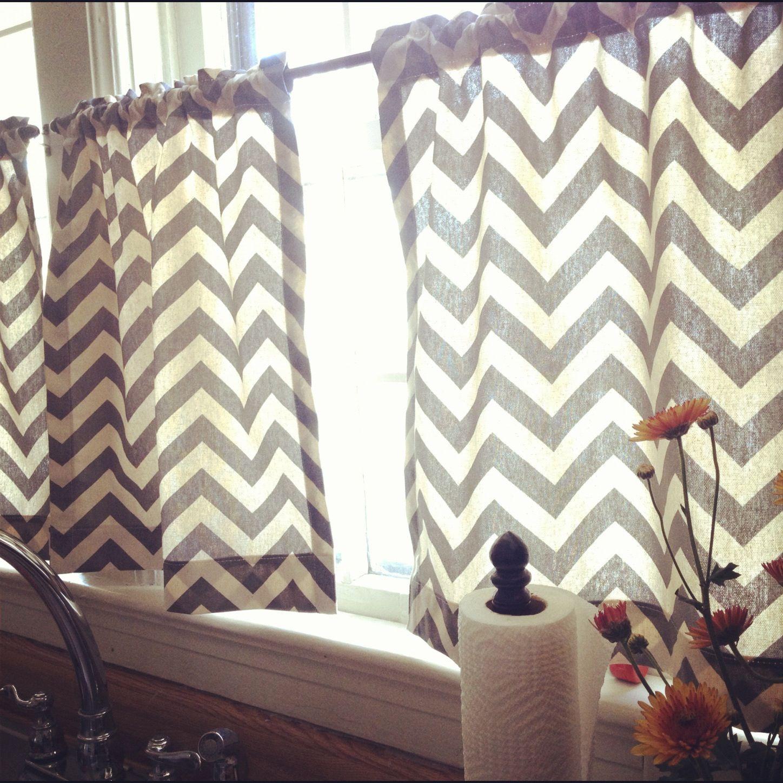 Yellow chevron kitchen curtains - My New Chevron Kitchen Curtains Love Them