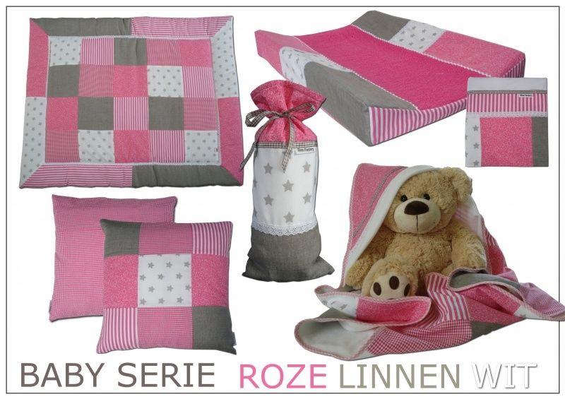 Kinderkamer Roze Grijs : Babykamer serie zacht roze linnen zand grijs en wit met kant